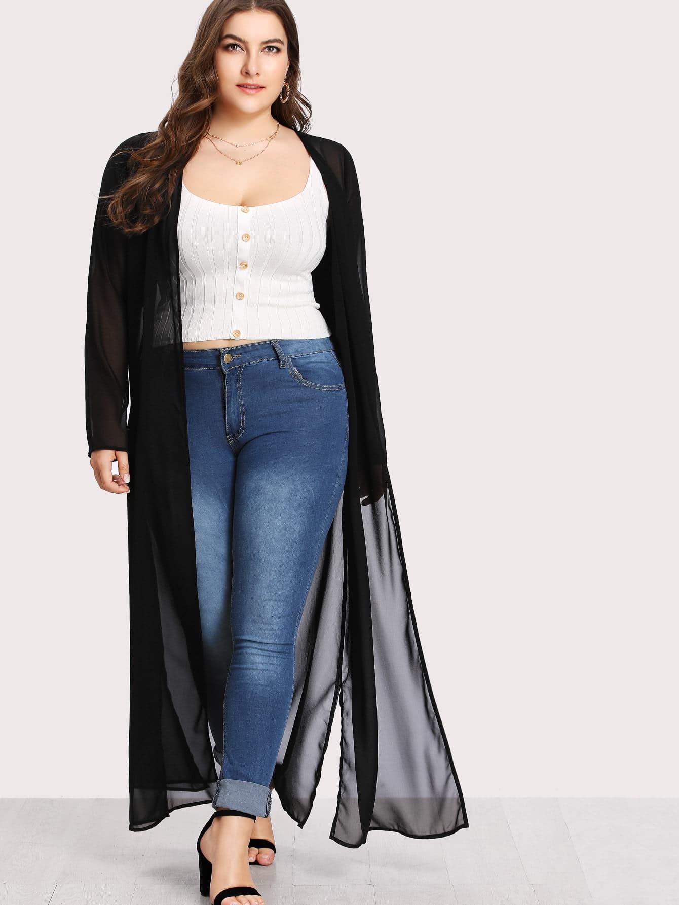 Plus Split Side Longline Sheer Kimono split side longline blazer