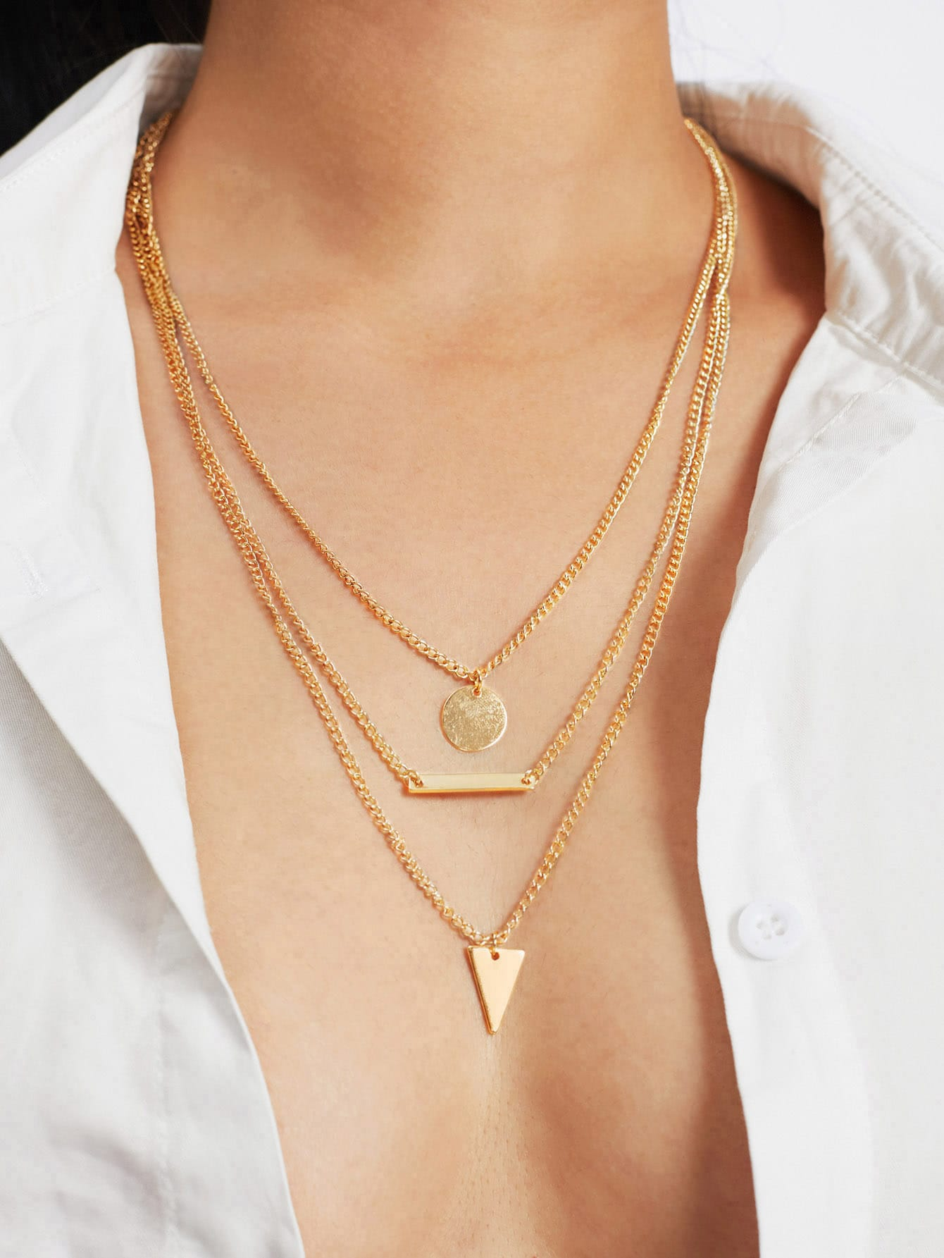 Geometric Pendant Layered Chain Necklace 2015 vip1 3