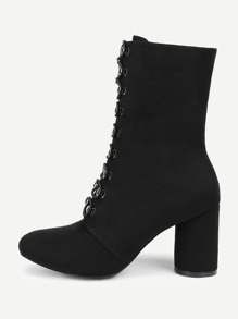 Pointed Toe Block Heeled Suede Boots