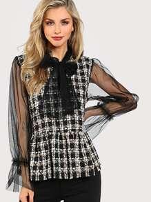 Contrast Mesh Sleeve Peplum Tweed Blouse