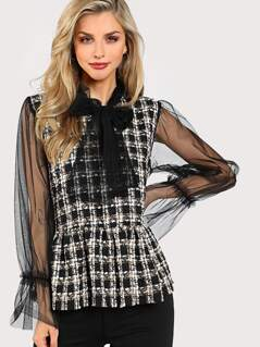 Contrast Mesh Sleeve Peplum Tweed Blouse