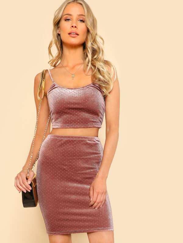 Crop Velvet Cami & Bodycon Skirt Co Ord by Shein