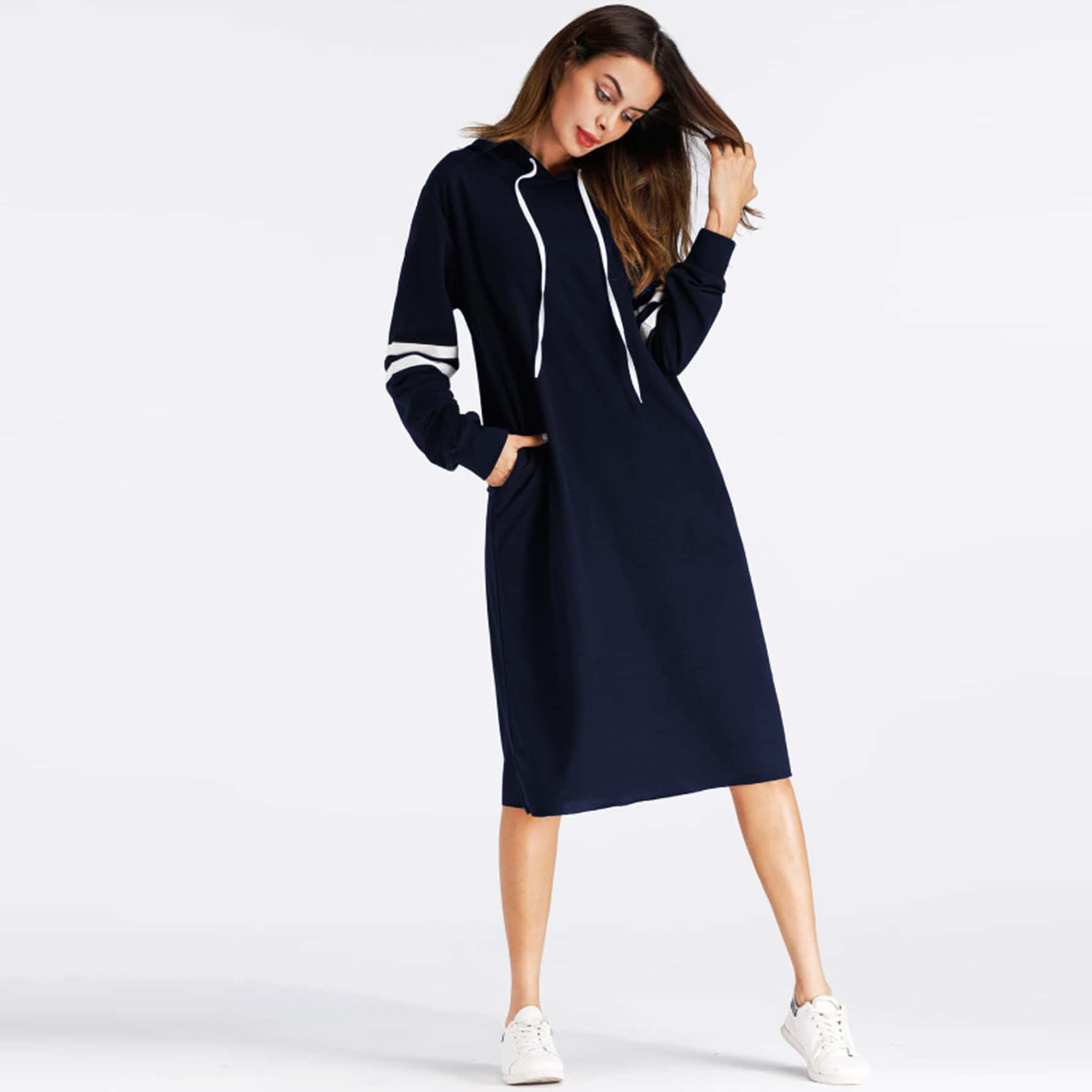 Sweatshirt jurk met zijstrepen