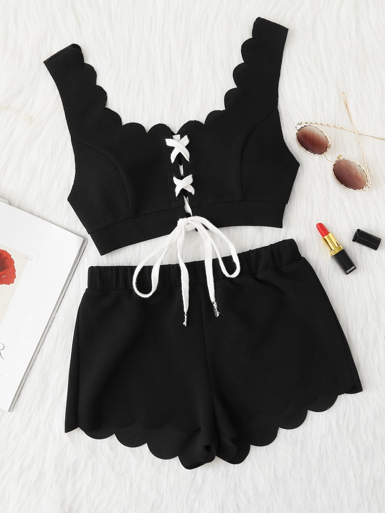 Lace Up Front Scalloped Trim Crop Top & Shorts PJ Set casual knitted lace up front crop top in black