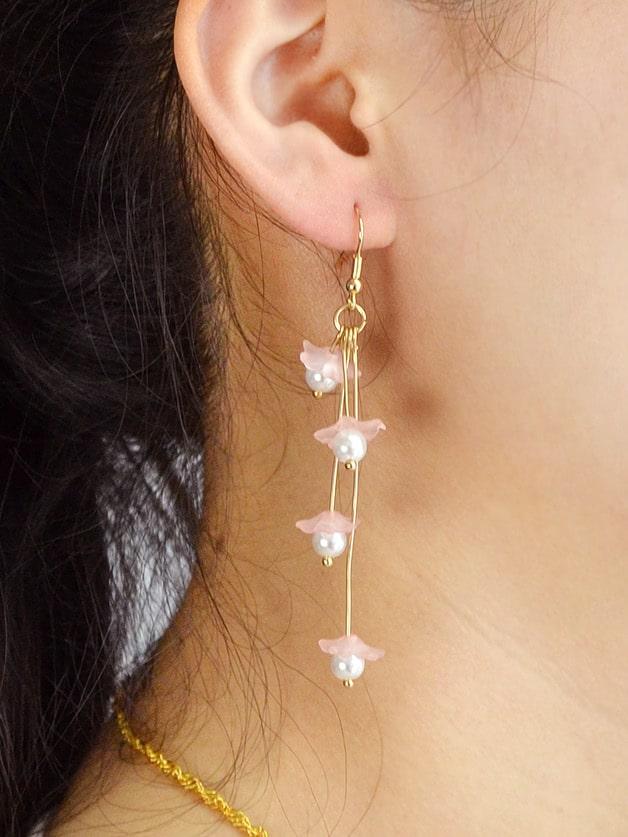 Pink Flower Drop Pendant Earrings Female clip on earrings with mandala flower pattern round pendant