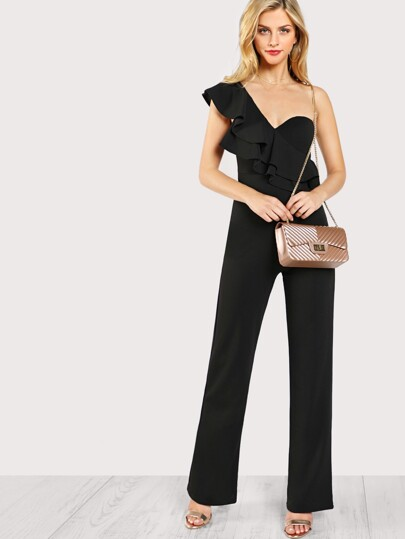 Ruffle Accent Single Shoulder Bustier Jumpsuit