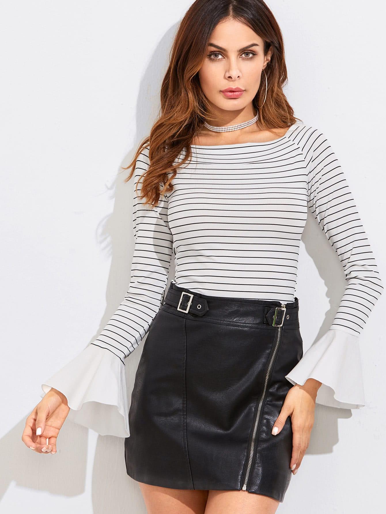 Contrast Bell Cuff Slim Stripe T-shirt multi stripe t shirt