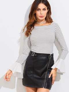 Contrast Bell Cuff Slim Stripe T-shirt