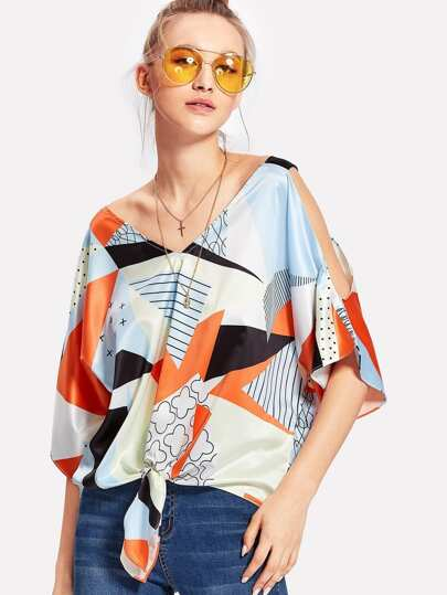 Open Shoulder Knot Hem Geo Blouse