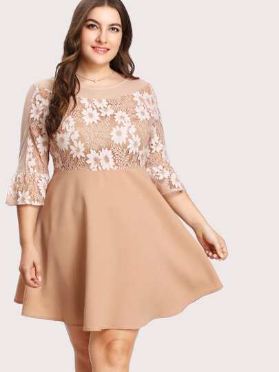 Contrast Lace Flounce Sleeve Bardot Dress