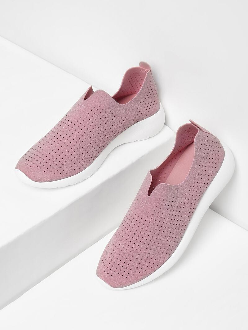 Suede Low Top Slip On Sneakers, Pink