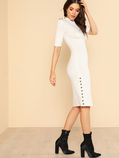 Button Embellished Form Fitting Dress
