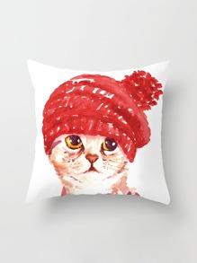 Funda de almohada con estampado de gato