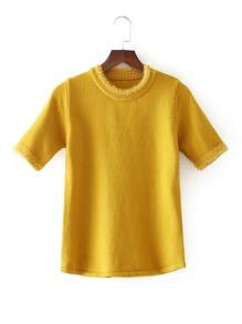 Faux Fur Trim Short Sleeve Knitwear