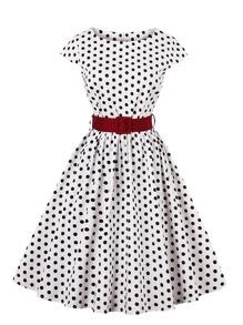 Spot Circle Dress With Belt