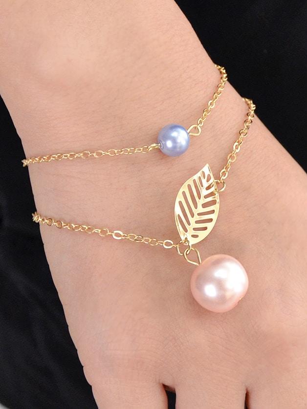 Gold Multi Layers Chain Leaf Shape Charm Simulated-Pearl Bracelets