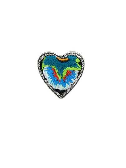 Blue Handmade Embroidery Flower Pattern Heart Finger Rings