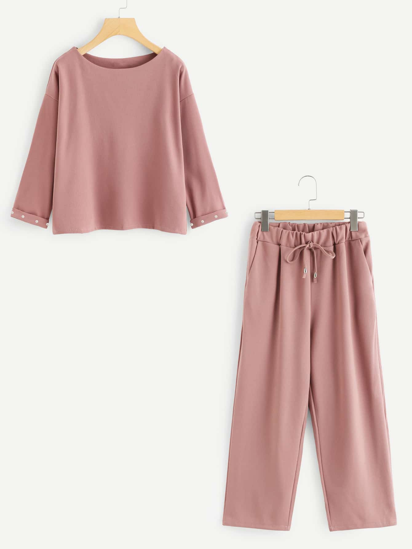 Pearl Beaded Cuffed Top With Pants solid cuffed pants