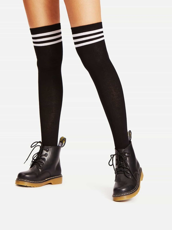 Black Varsity Stripe Over The Knee Socks, null