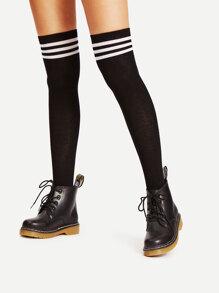 Black Varsity Stripe Over The Knee Socks