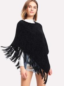 Fringe Hem Chenille Poncho Sweater