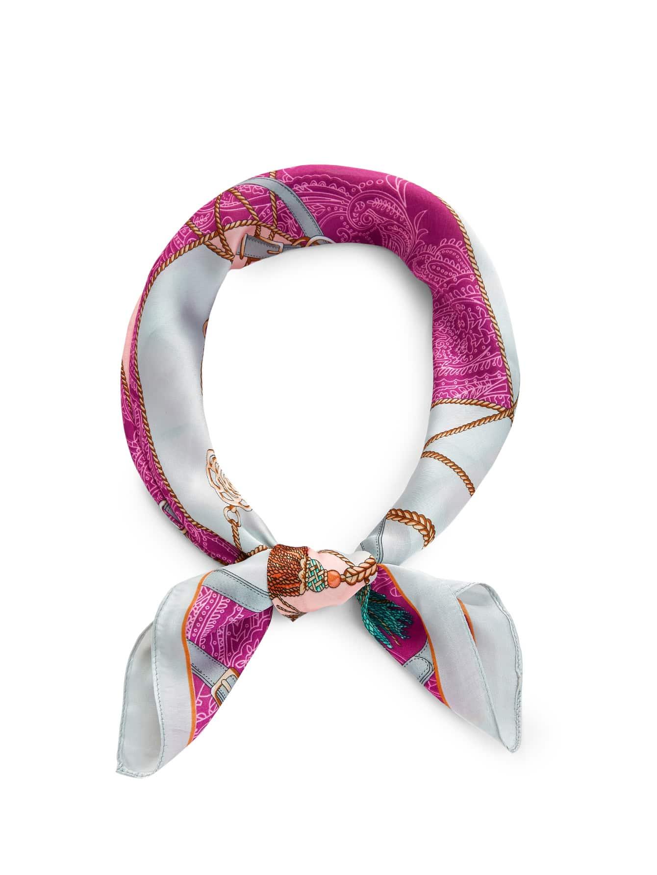 Tassel & Chain Print Bandana calico print satin bandana