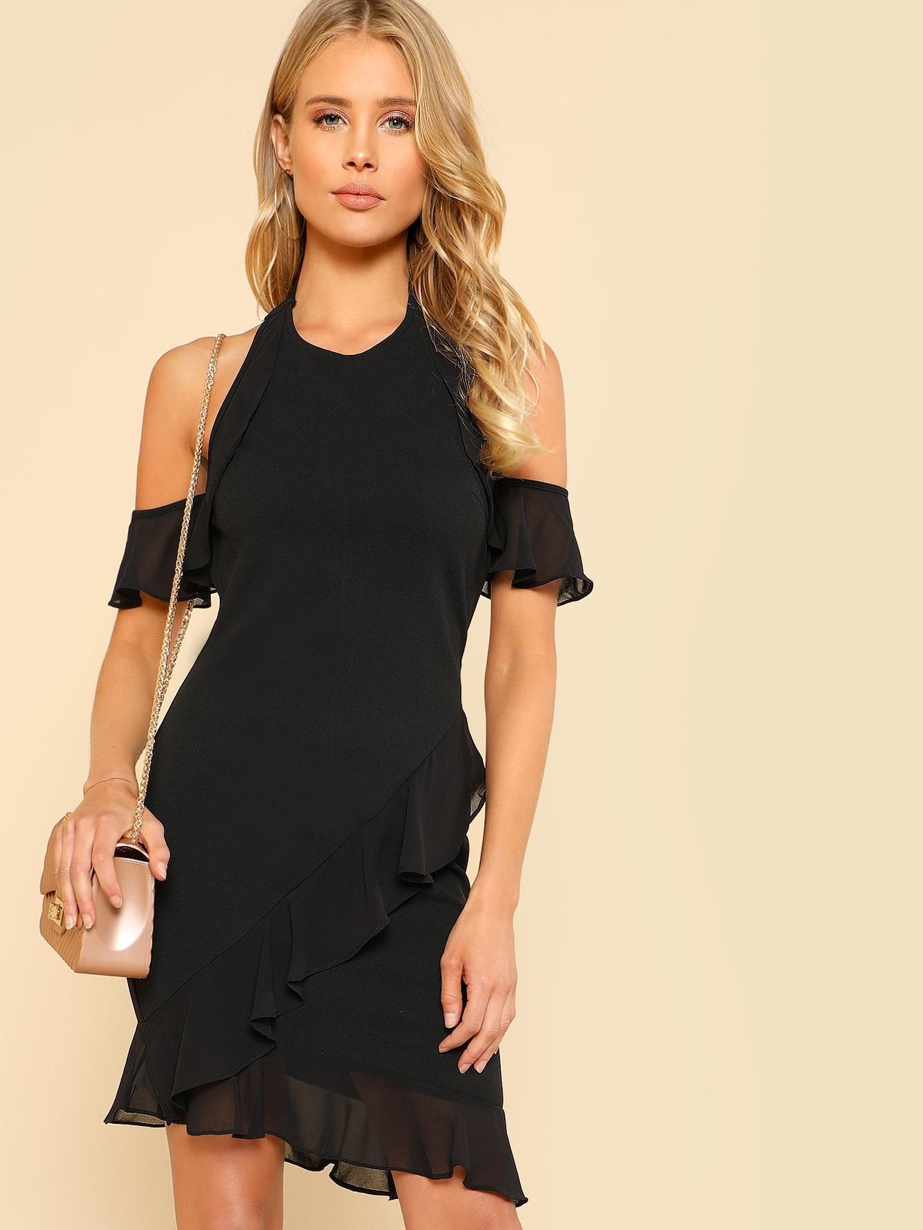 Open Shoulder Ruffle Hem Wrap Dress cold shoulder ruffle detail pinstripe wrap dress