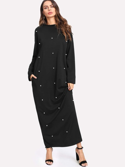 Pearl Beading Pocket Side Maxi Dress