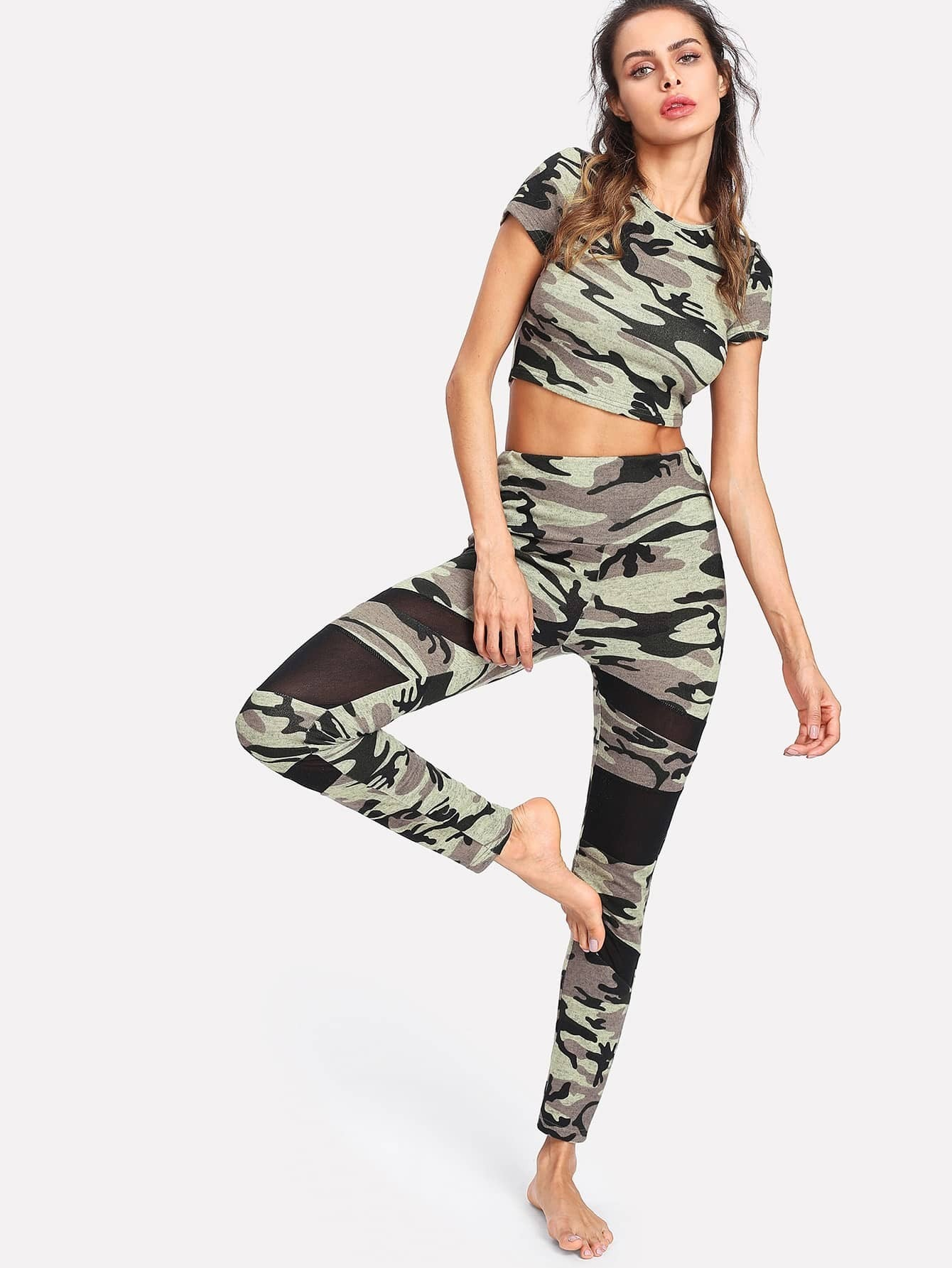 Camo Crop Top & Mesh Insert Leggings Set side panel mesh insert camo leggings