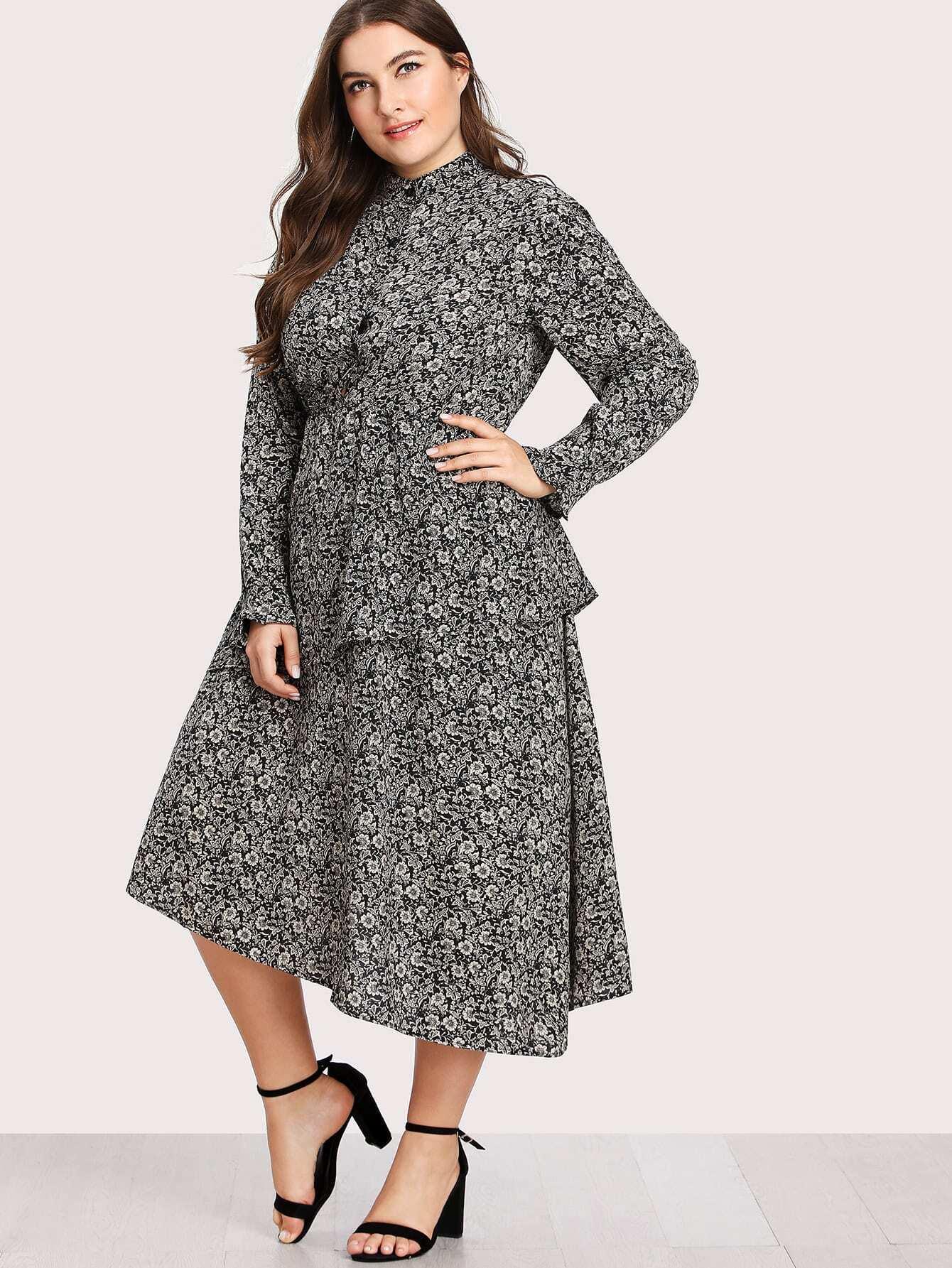 Calico Print Tiered Asymmetrical Hem Dress patchwork print tiered hem halter dress