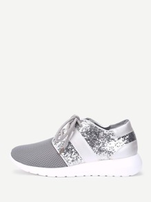 Sequin Detail Lace Up Sneakers