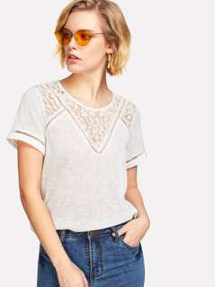 Lace Insert Short Sleeve T-shirt