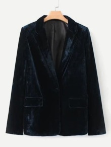 Single Button Velvet Blazer