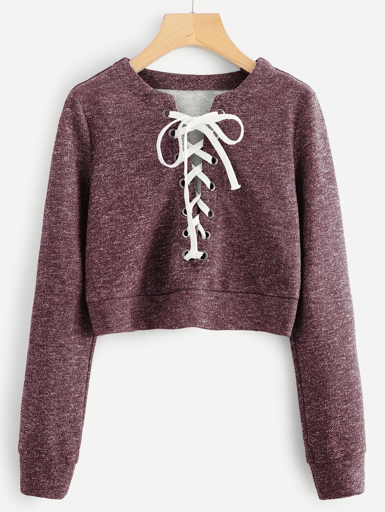 Grommet Lace Up Marled Knit Crop Sweatshirt drop shoulder letter print marled crop sweatshirt