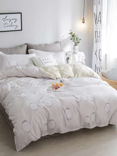 1.5m 4Pcs Chicken Print Duvet Cover Set