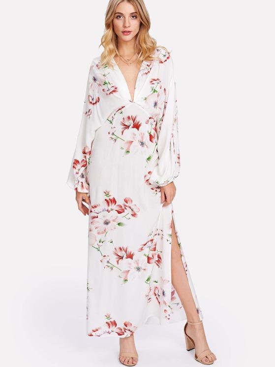 21f30099dbf Plunge Neck Split Back Dolman Sleeve Floral Dress