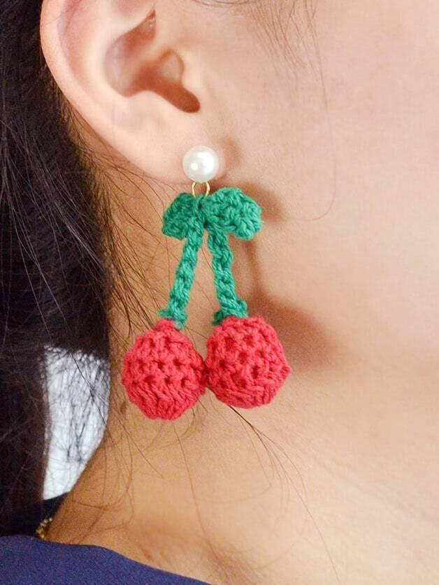 Braided Woolen Rope Cherry Earrings Party Dangle Earrings