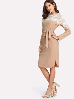 Lace Yoke Pearl Cuff Curved Hem Dress