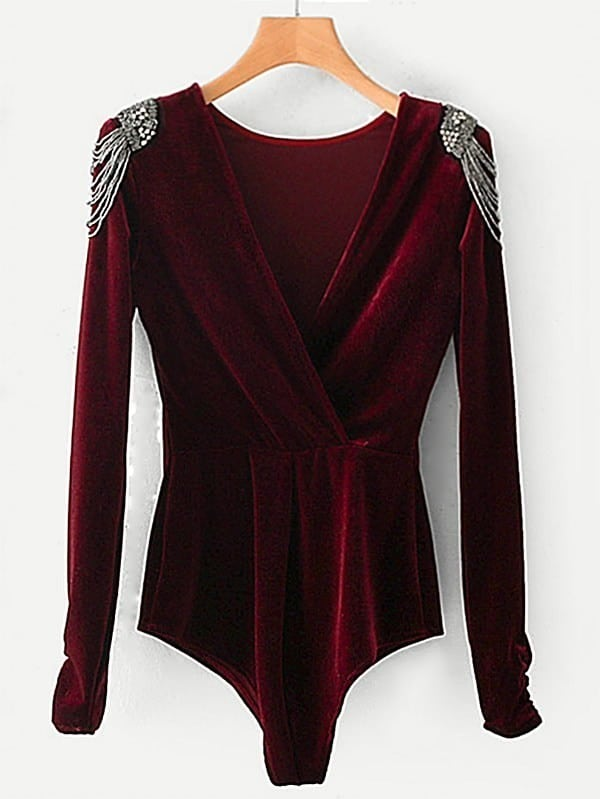 Beaded Shoulder Surplice Velvet Bodysuit зимняя шина pirelli winter 240 sottozero 235 40 r18 91v н ш n1