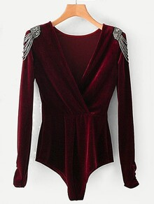 Beaded Shoulder Surplice Velvet Bodysuit