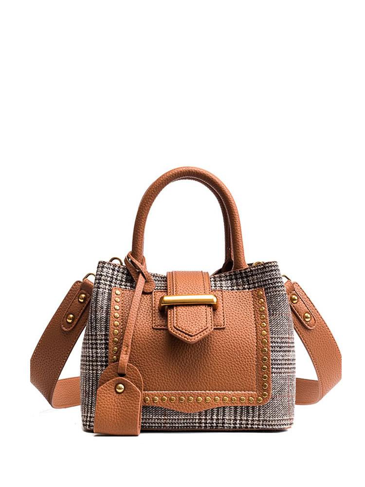 Купить Шипованная сумка с накладной сумкой Houndstooth, null, SheIn