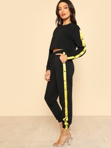 Snap-Stud Panel Side Crop Top & Sweatpants Set