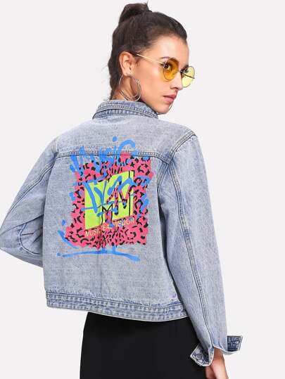Faded Wash Graphic Denim Jacket
