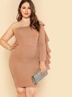 Sparkling One Shoulder Ruffle Long Sleeve Dress