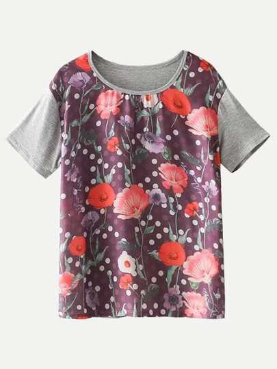 Floral Splicing T-shirt