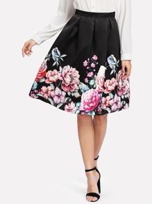 Boxed Pleated Flower Print Skirt