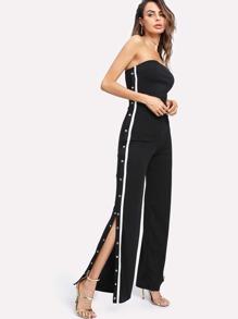 Bardot Tape Detail Snap-Button Side Wide Leg Jumpsuit