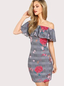 Mixed Print Flounce Layered Dress
