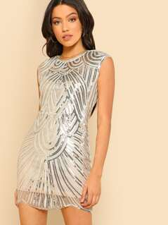 Sequined Cap Sleeve Dress CHAMPAGNE
