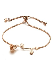 Metal Rose Detail Link Bracelet 1pc
